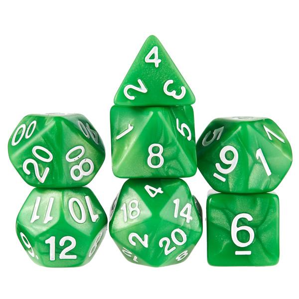 7 Die Polyhedral Dice Set in Velvet Pouch - Imperial Gem