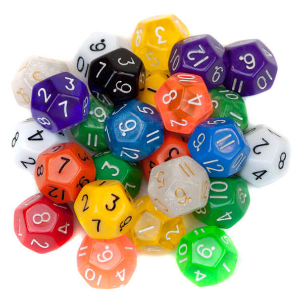 25 Pack of Random D12 Polyhedral Dice in Multiple Colors