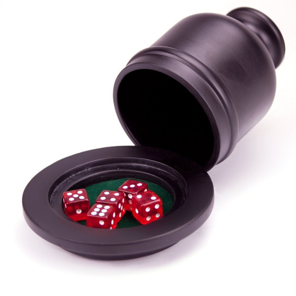 Deluxe Wooden Dice Cup Shaker with Felt Lined Tray and 5 dice