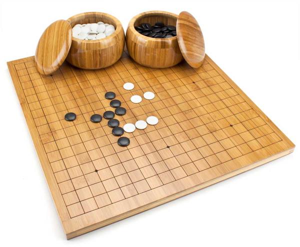 Go Set w/Reversible Bamboo Board, Bowls, & Bakelite Stones