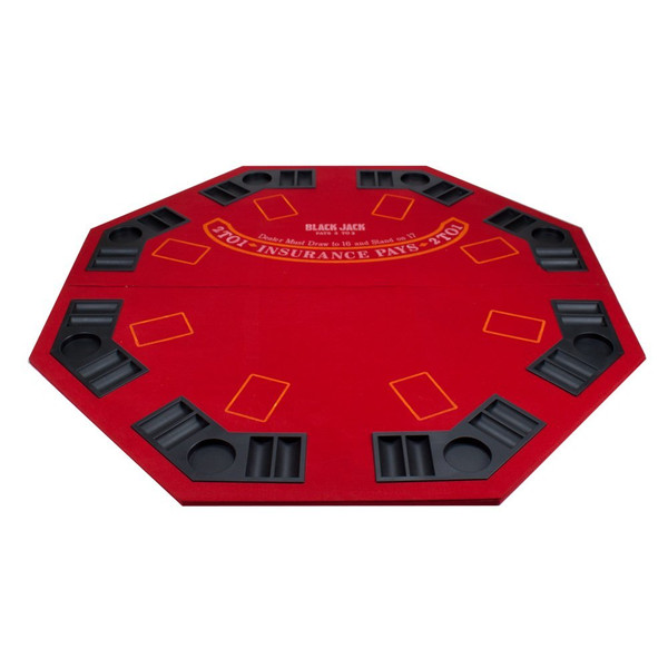 2 in 1 Red Folding Poker/Blackjack Table Top with Case