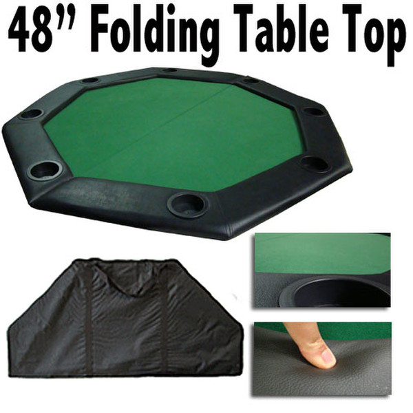 "48"" Green Felt Octagon Folding Table Top with Padded Rail"