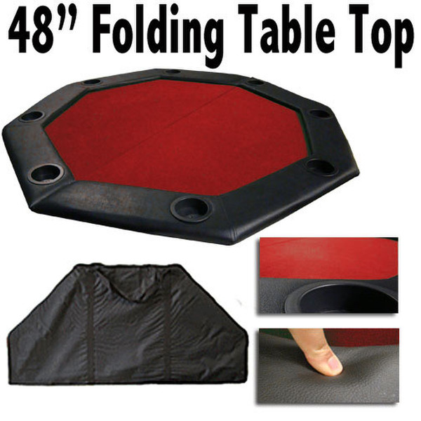 "48"" Red Felt Octagon Folding Table Top with Padded Rail"