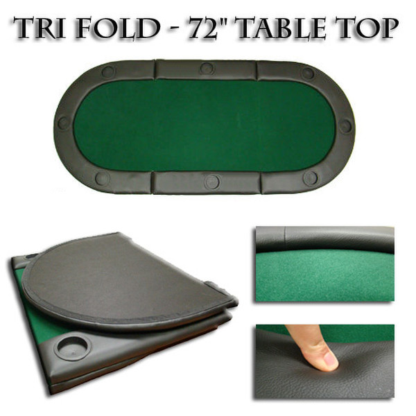 "72""x32"" Green Tri-Fold Poker Table Top With Cup Holders"
