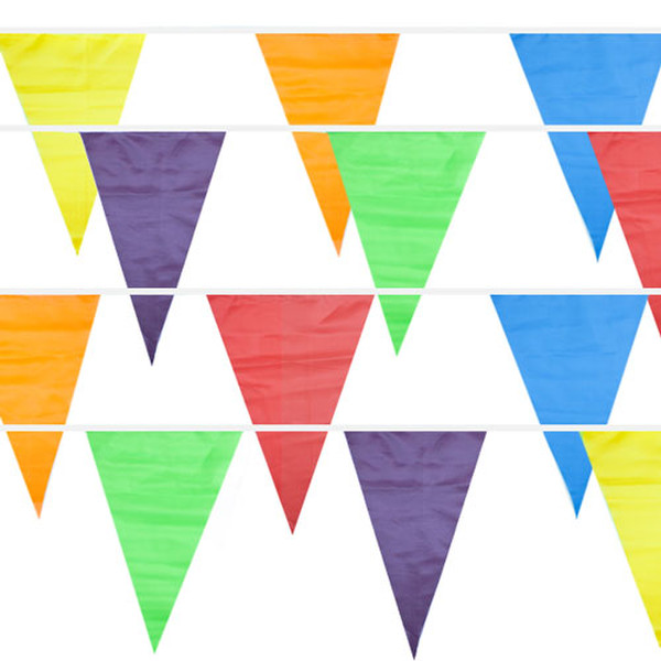 Multi-Color 100 Foot Pennant Stringer with 48 Flags