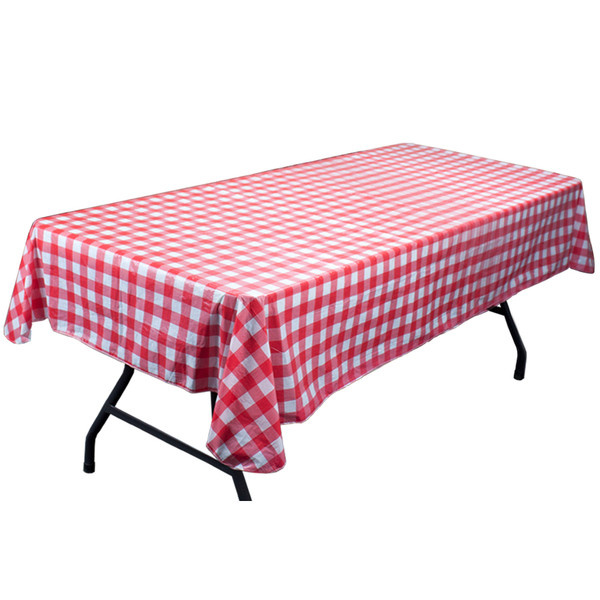 Red and White Vinyl Table Cloth with Flannel Backing