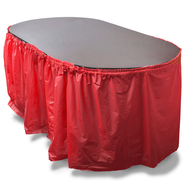 14' Red Reusable Plastic Table Skirt, Extends 20'+