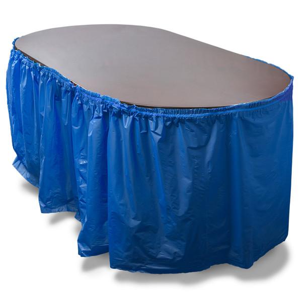 14' Dark Blue Reusable Plastic Table Skirt, Extends 20'+