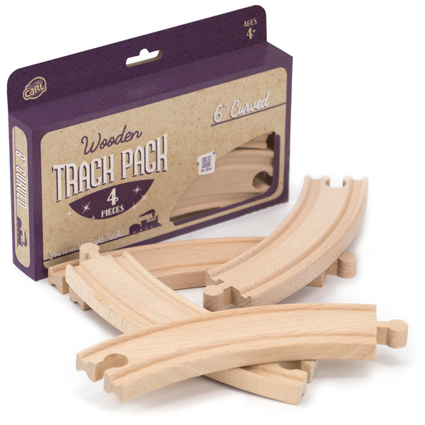 (4) 6 Inch Curved Wooden Train Tracks by Conductor Carl